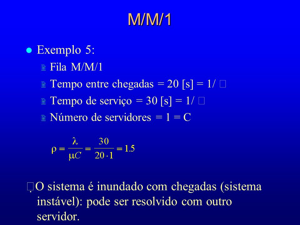 M/M/1Exemplo 5: Fila M/M/1. Tempo entre chegadas = 20 [s] = 1/  Tempo de serviço = 30 [s] = 1/  Número de servidores = 1 = C.